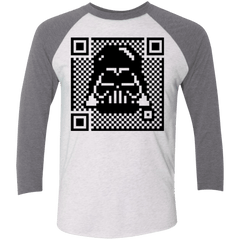 T-Shirts Heather White/Premium Heather / X-Small QR vader Men's Triblend 3/4 Sleeve