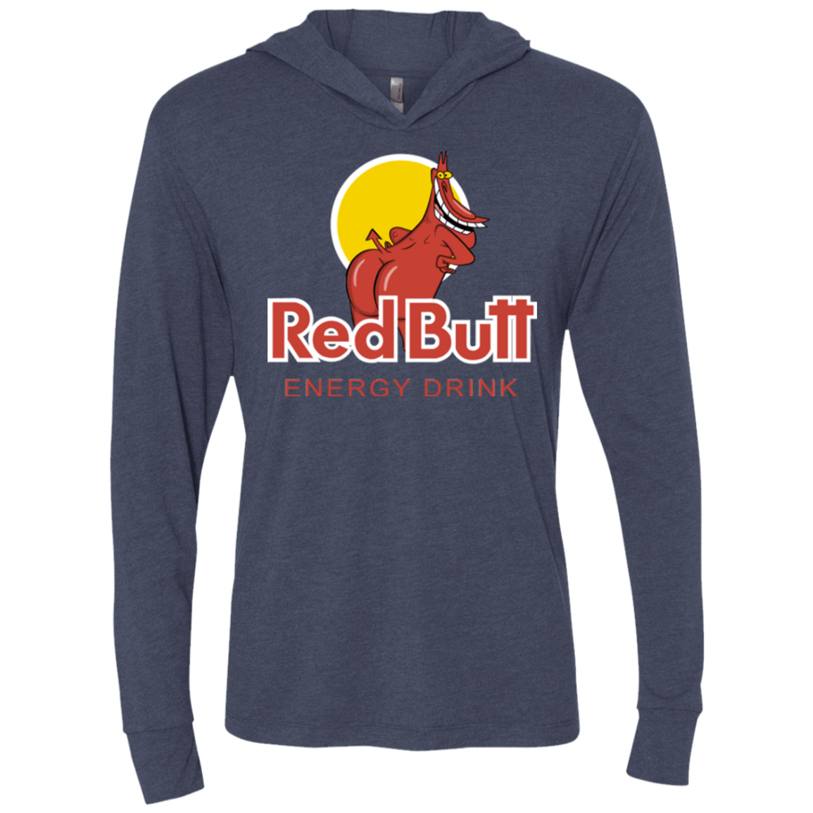 T-Shirts Vintage Navy / X-Small Red butt Triblend Long Sleeve Hoodie Tee