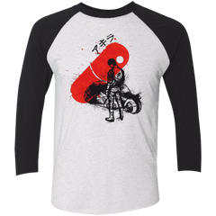 T-Shirts Heather White/Vintage Black / X-Small RED SUN AKIRA Men's Triblend 3/4 Sleeve