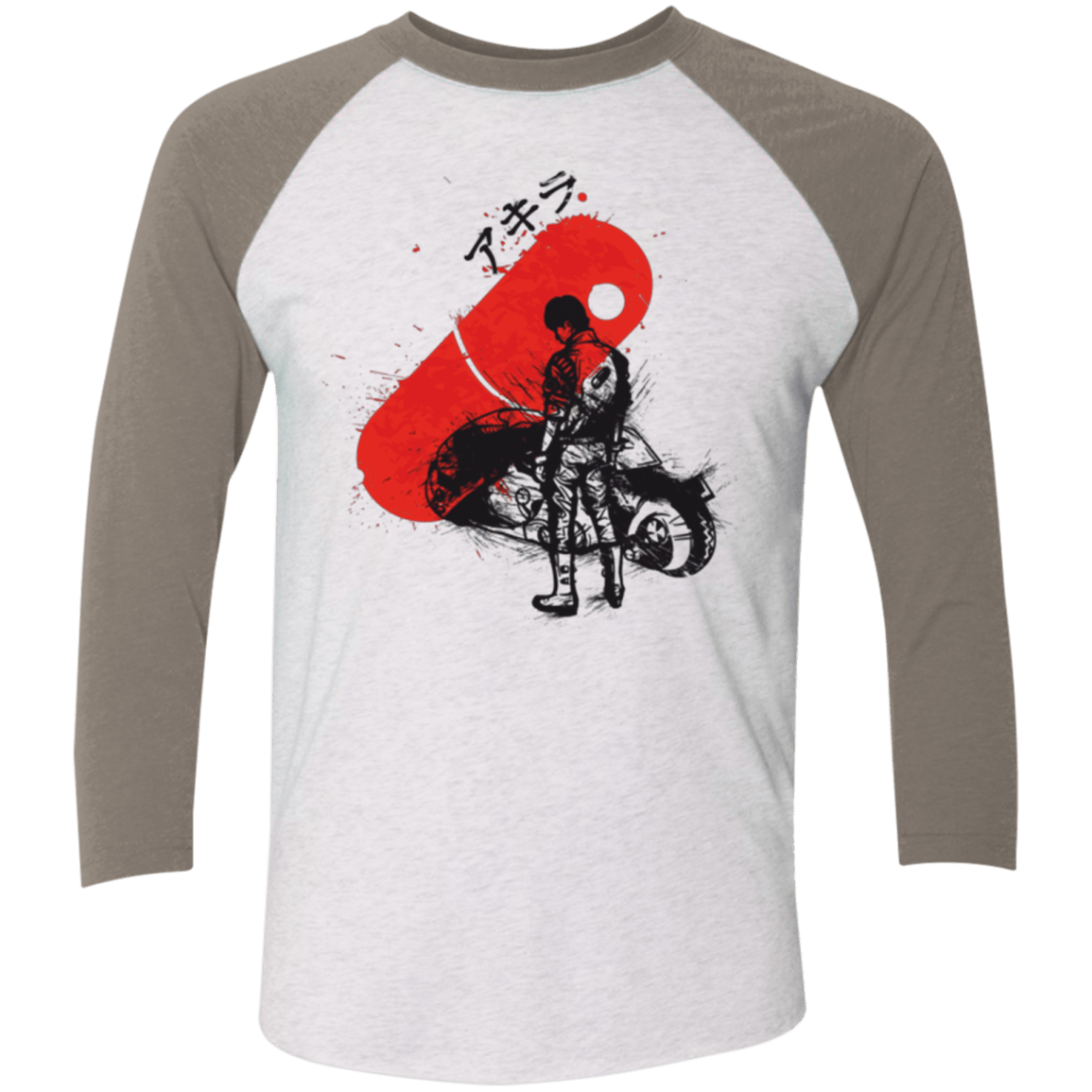 T-Shirts Heather White/Vintage Grey / X-Small RED SUN AKIRA Men's Triblend 3/4 Sleeve