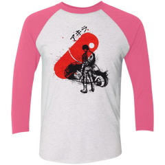 T-Shirts Heather White/Vintage Pink / X-Small RED SUN AKIRA Men's Triblend 3/4 Sleeve