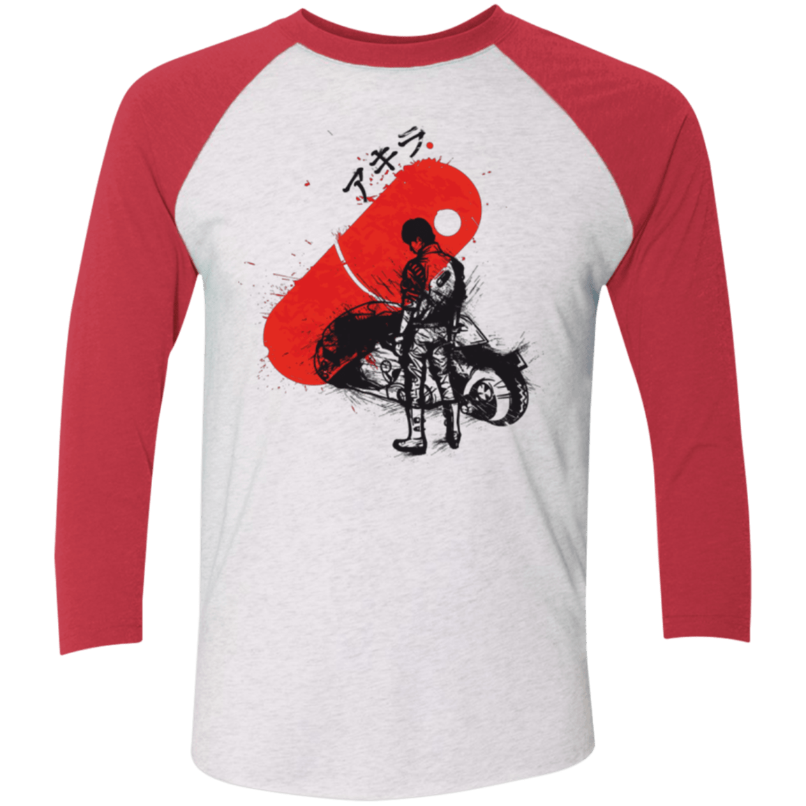 T-Shirts Heather White/Vintage Red / X-Small RED SUN AKIRA Men's Triblend 3/4 Sleeve