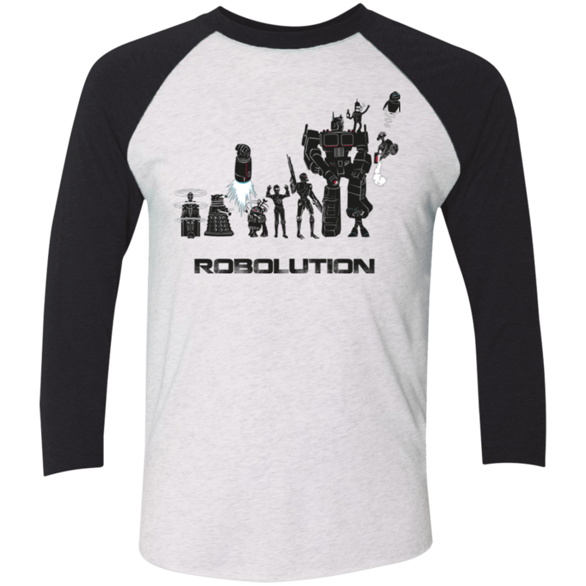 T-Shirts Heather White/Vintage Black / X-Small Robolution Men's Triblend 3/4 Sleeve