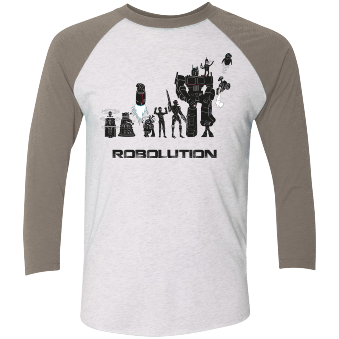 T-Shirts Heather White/Vintage Grey / X-Small Robolution Men's Triblend 3/4 Sleeve