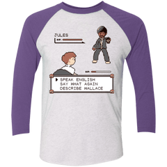T-Shirts Heather White/Purple Rush / X-Small say what again Men's Triblend 3/4 Sleeve