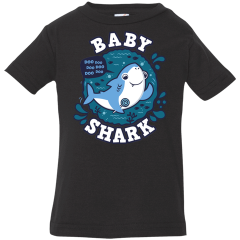 T-Shirts Black / 6 Months Shark Family trazo - Baby Boy Infant Premium T-Shirt