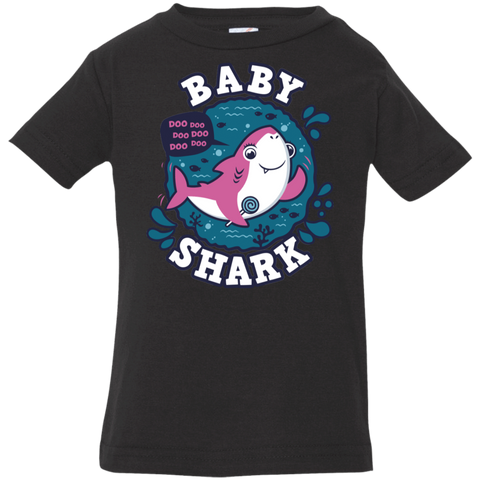 T-Shirts Black / 6 Months Shark Family trazo - Baby Girl Infant Premium T-Shirt