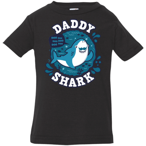 T-Shirts Black / 6 Months Shark Family trazo - Daddy Infant Premium T-Shirt