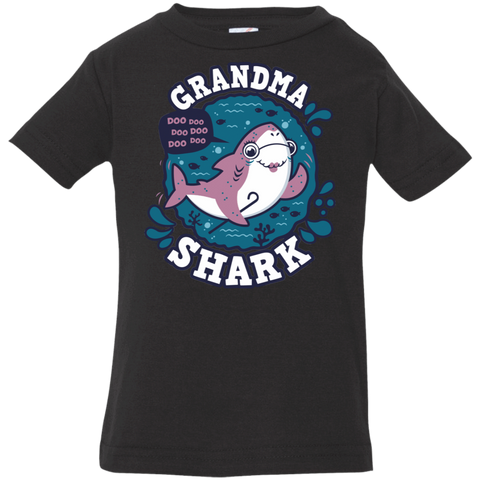 T-Shirts Black / 6 Months Shark Family trazo - Grandma Infant Premium T-Shirt