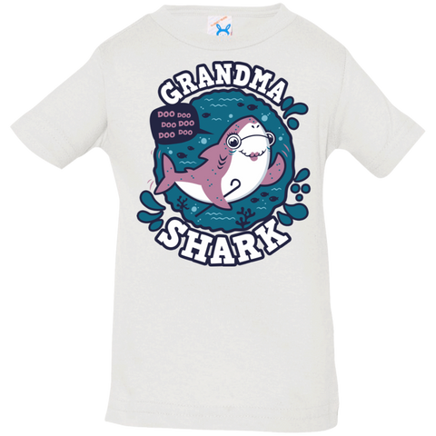 T-Shirts White / 6 Months Shark Family trazo - Grandma Infant Premium T-Shirt