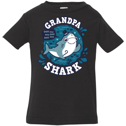 T-Shirts Black / 6 Months Shark Family trazo - Grandpa Infant Premium T-Shirt