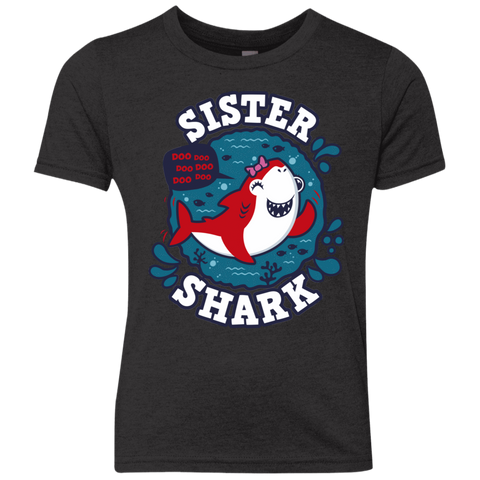 Shark Family trazo - Sister Youth Triblend T-Shirt