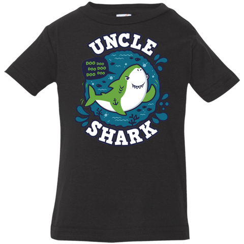 T-Shirts Black / 6 Months Shark Family trazo - Uncle Infant Premium T-Shirt