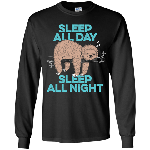 T-Shirts Black / YS Sleep All Day All Night Youth Long Sleeve T-Shirt