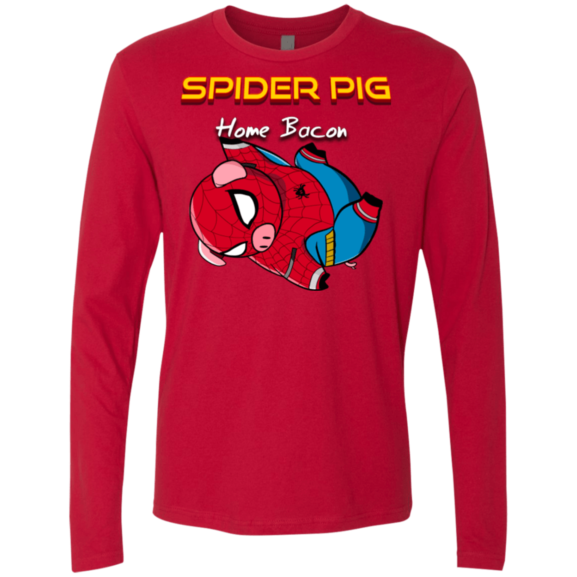 T-Shirts Red / Small Spider Pig Hanging Men's Premium Long Sleeve