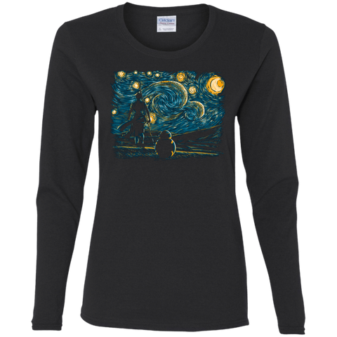 T-Shirts Black / S Starry Desert Women's Long Sleeve T-Shirt