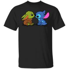 T-Shirts Black / S Stitch Yoda Baby T-Shirt