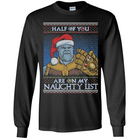 T-Shirts Black / YS Thanos Naughty List Youth Long Sleeve T-Shirt