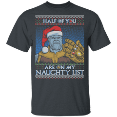 T-Shirts Dark Heather / YXS Thanos Naughty List Youth T-Shirt