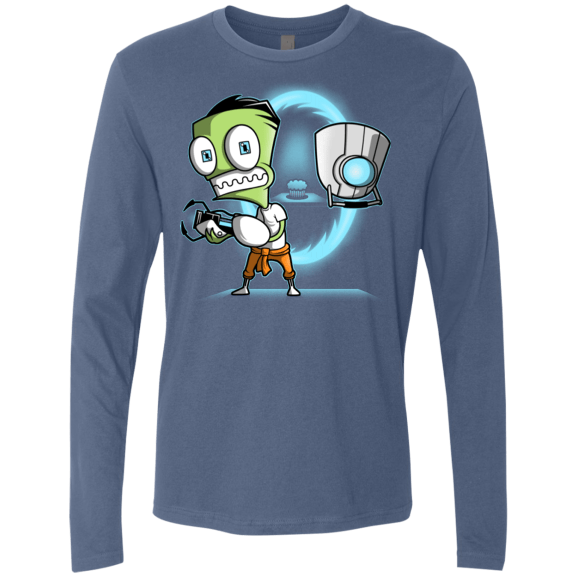 T-Shirts Indigo / Small THE CUPCAKE IS A LIE Men's Premium Long Sleeve