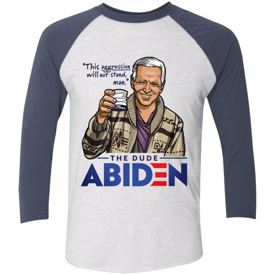 T-Shirts Heather White/Indigo / S The Dude Abiden Men's Triblend 3/4 Sleeve