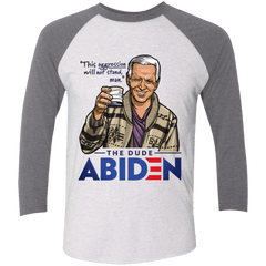 T-Shirts Heather White/Premium Heather / S The Dude Abiden Men's Triblend 3/4 Sleeve