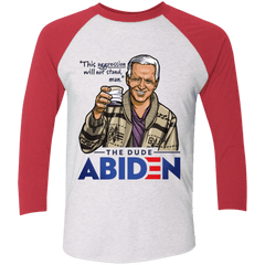 T-Shirts Heather White/Vintage Red / S The Dude Abiden Men's Triblend 3/4 Sleeve