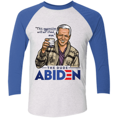 T-Shirts Heather White/Vintage Royal / S The Dude Abiden Men's Triblend 3/4 Sleeve