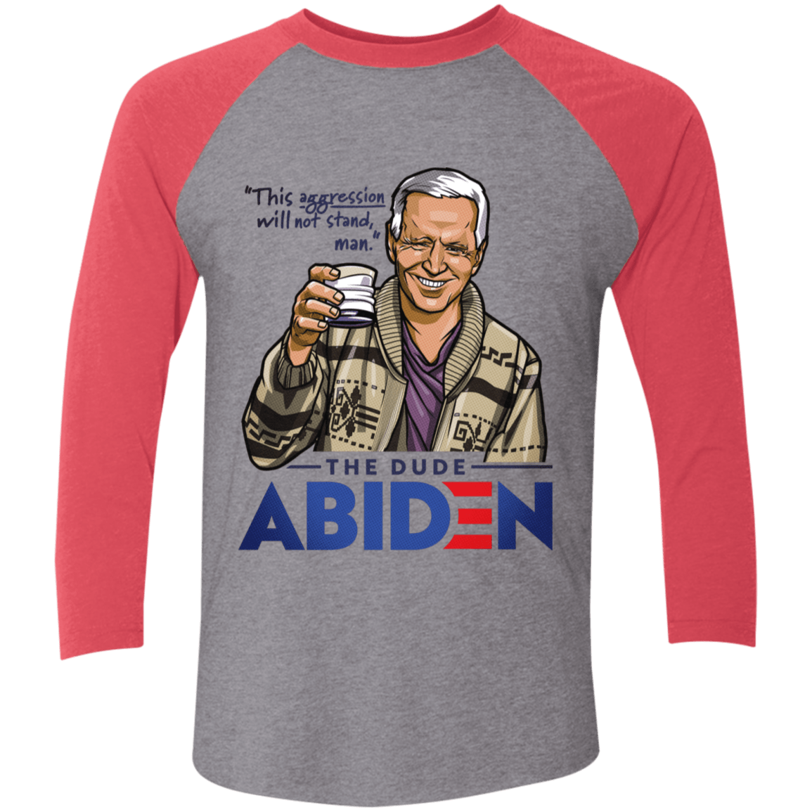 T-Shirts Premium Heather/Vintage Red / S The Dude Abiden Men's Triblend 3/4 Sleeve
