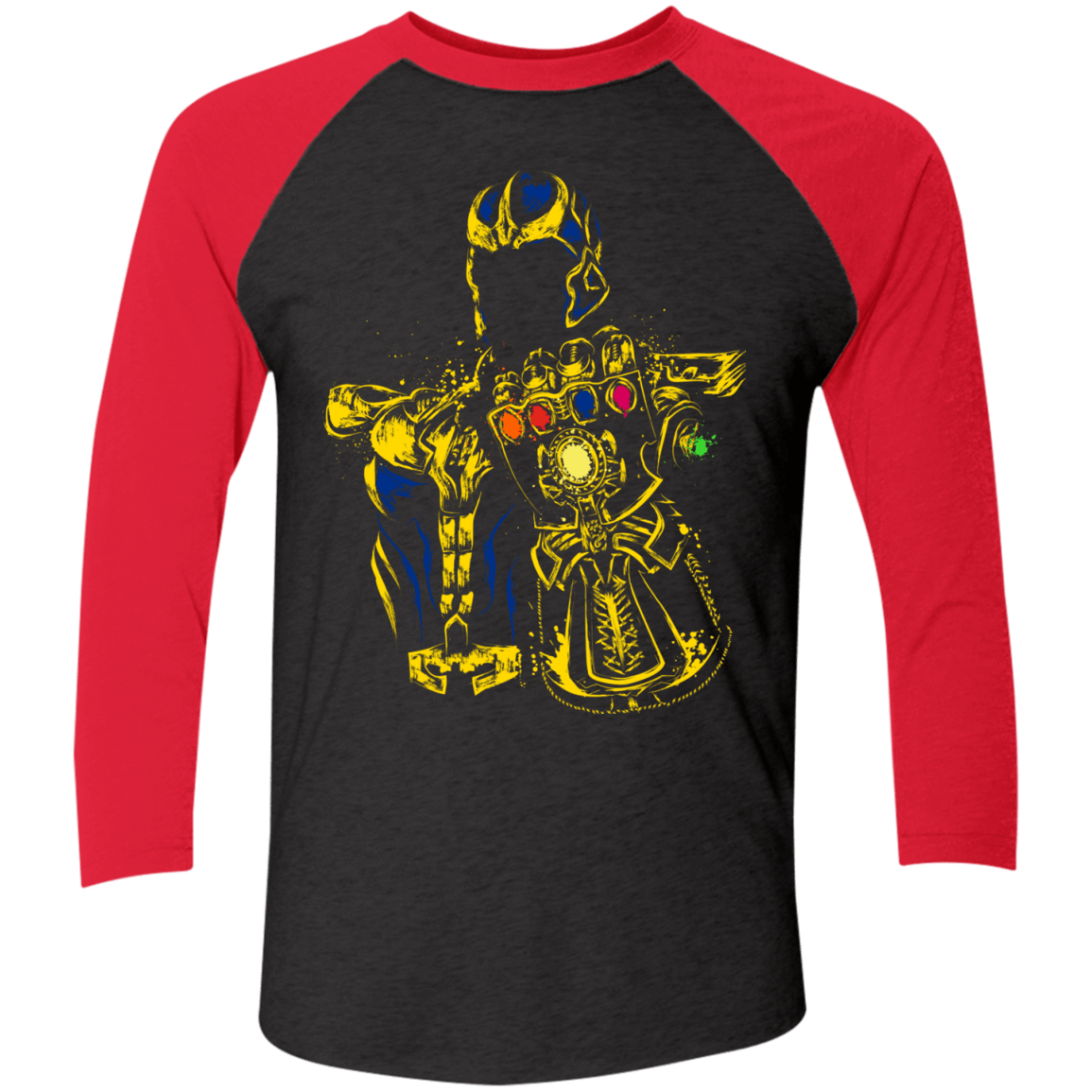 T-Shirts Vintage Black/Vintage Red / X-Small The Mad Titan Men's Triblend 3/4 Sleeve