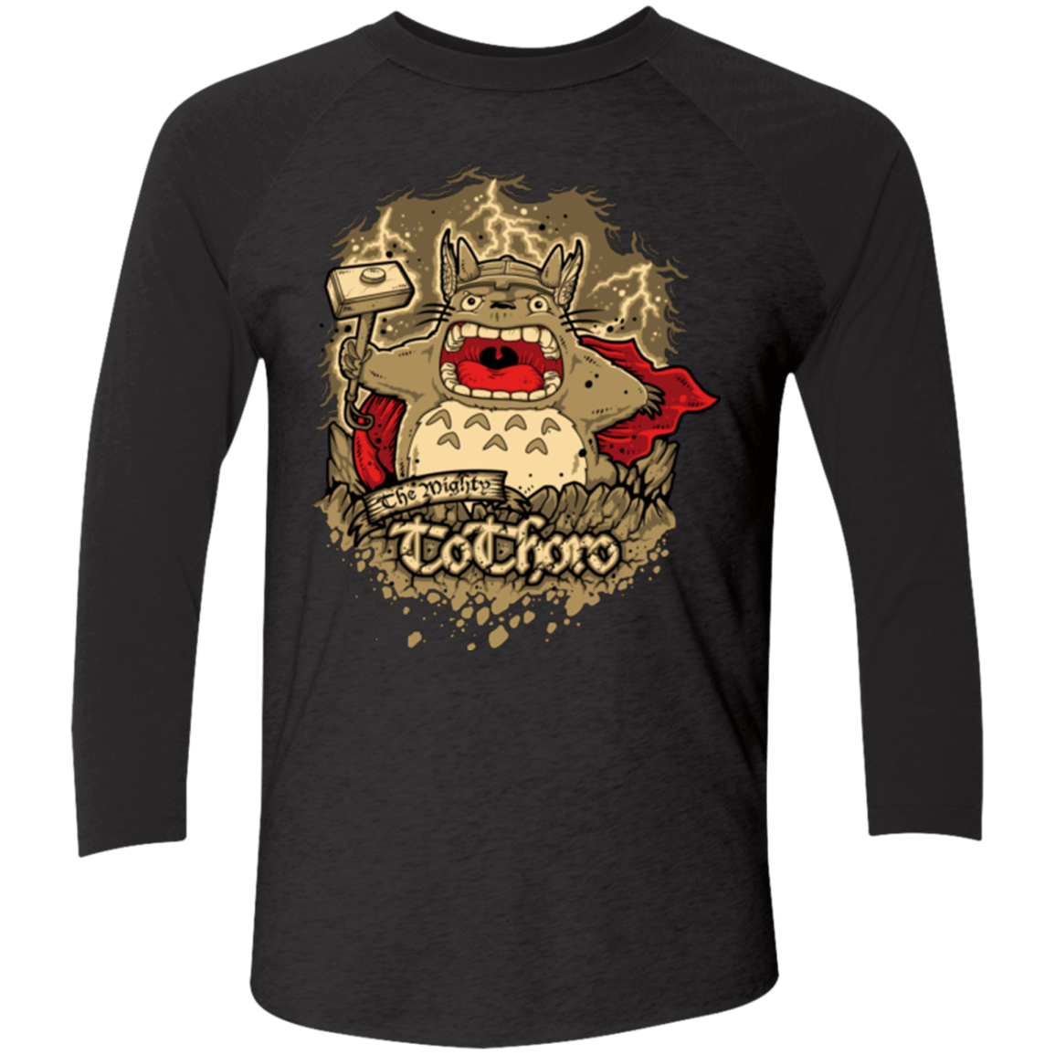 T-Shirts Vintage Black/Vintage Black / X-Small The Mighty Tothoro Men's Triblend 3/4 Sleeve