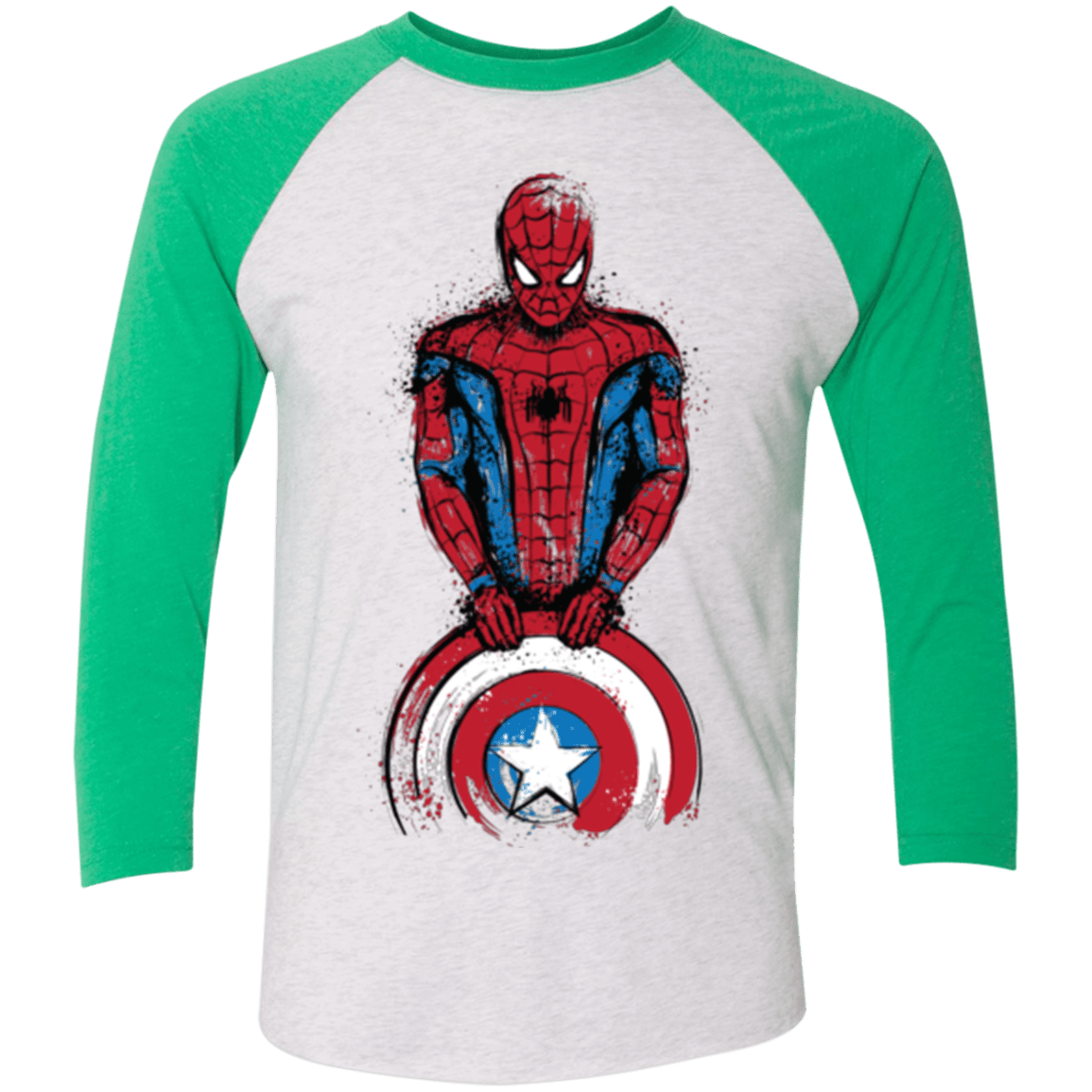 T-Shirts Heather White/Envy / X-Small The Spider is Coming Men's Triblend 3/4 Sleeve