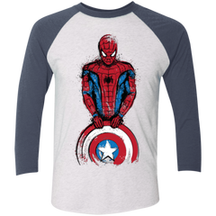 T-Shirts Heather White/Indigo / X-Small The Spider is Coming Men's Triblend 3/4 Sleeve