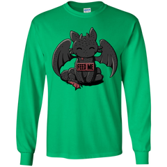 T-Shirts Irish Green / YS Toothless Feed Me Youth Long Sleeve T-Shirt