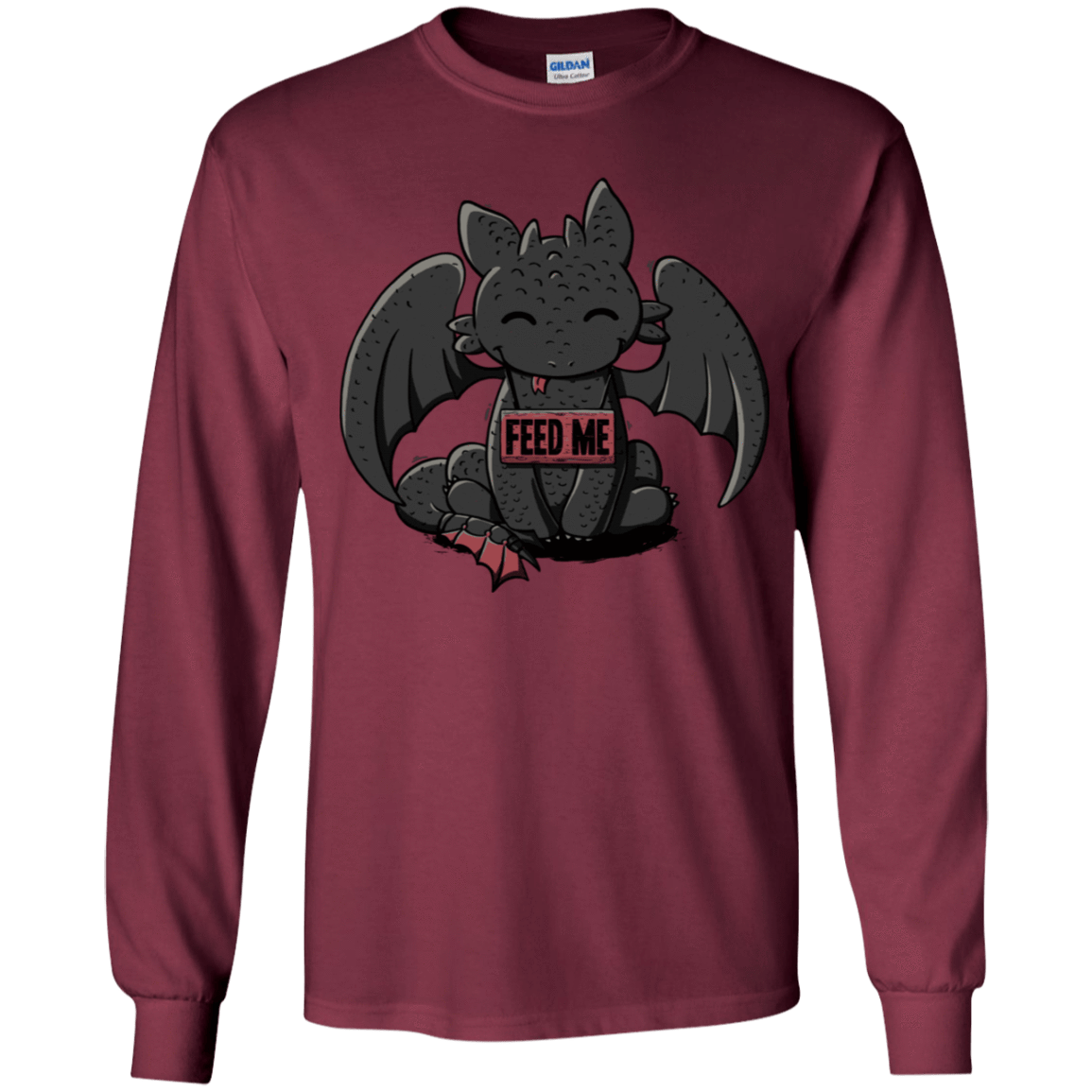 T-Shirts Maroon / YS Toothless Feed Me Youth Long Sleeve T-Shirt