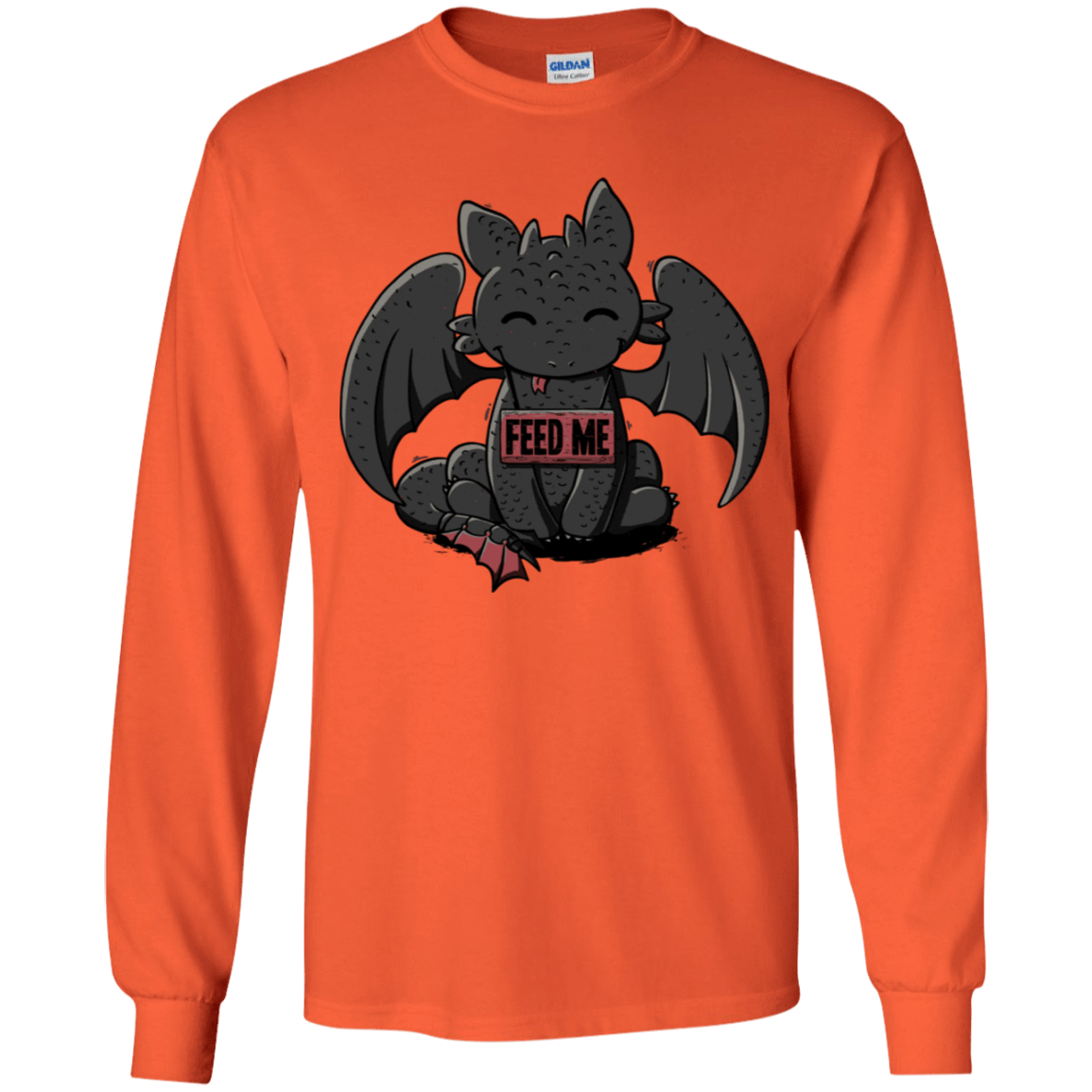 T-Shirts Orange / YS Toothless Feed Me Youth Long Sleeve T-Shirt