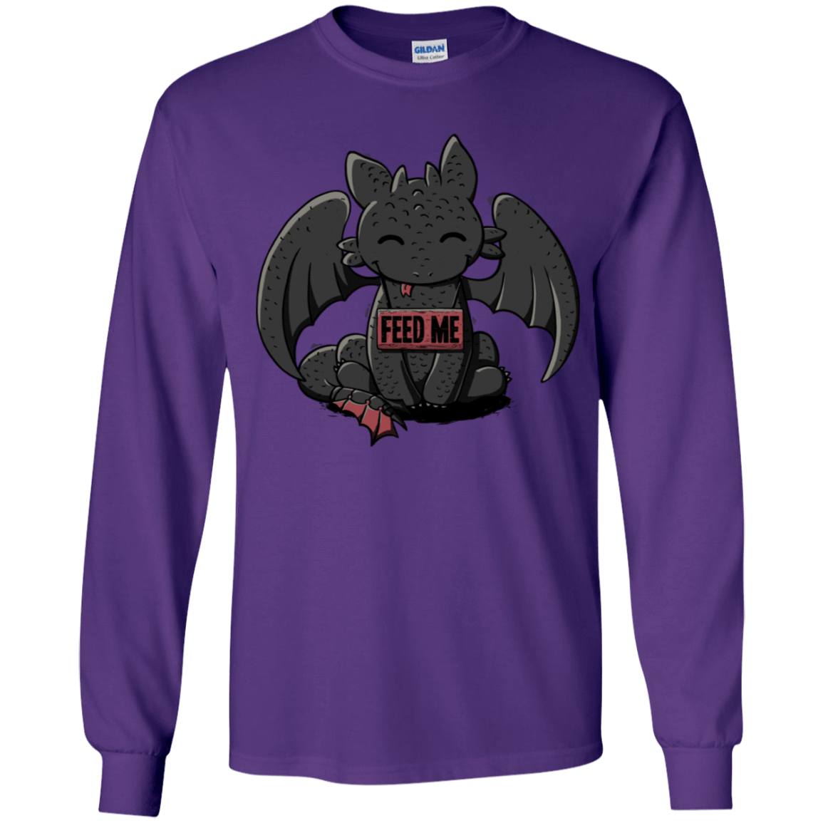 T-Shirts Purple / YS Toothless Feed Me Youth Long Sleeve T-Shirt