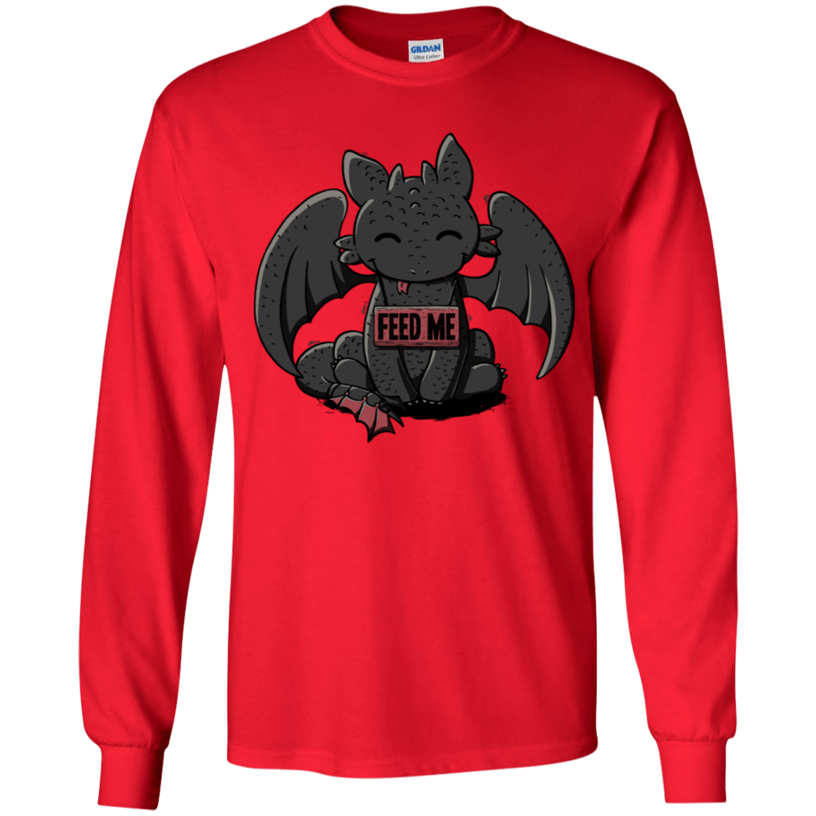 T-Shirts Red / YS Toothless Feed Me Youth Long Sleeve T-Shirt