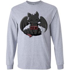 T-Shirts Sport Grey / YS Toothless Feed Me Youth Long Sleeve T-Shirt