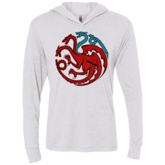 T-Shirts Heather White / X-Small Trinity of fire and ice V2 Triblend Long Sleeve Hoodie Tee