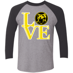 T-Shirts Premium Heather/ Vintage Black / X-Small Yellow Ranger LOVE Men's Triblend 3/4 Sleeve