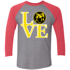 T-Shirts Premium Heather/ Vintage Red / X-Small Yellow Ranger LOVE Men's Triblend 3/4 Sleeve