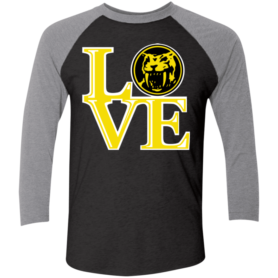 T-Shirts Vintage Black/Premium Heather / X-Small Yellow Ranger LOVE Men's Triblend 3/4 Sleeve