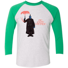 T-Shirts Heather White/Envy / X-Small Yondu Poppins Men's Triblend 3/4 Sleeve
