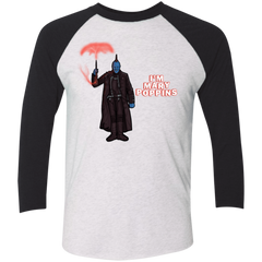 T-Shirts Heather White/Vintage Black / X-Small Yondu Poppins Men's Triblend 3/4 Sleeve