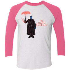 T-Shirts Heather White/Vintage Pink / X-Small Yondu Poppins Men's Triblend 3/4 Sleeve