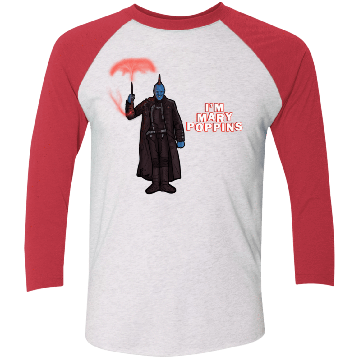 T-Shirts Heather White/Vintage Red / X-Small Yondu Poppins Men's Triblend 3/4 Sleeve