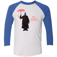 T-Shirts Heather White/Vintage Royal / X-Small Yondu Poppins Men's Triblend 3/4 Sleeve