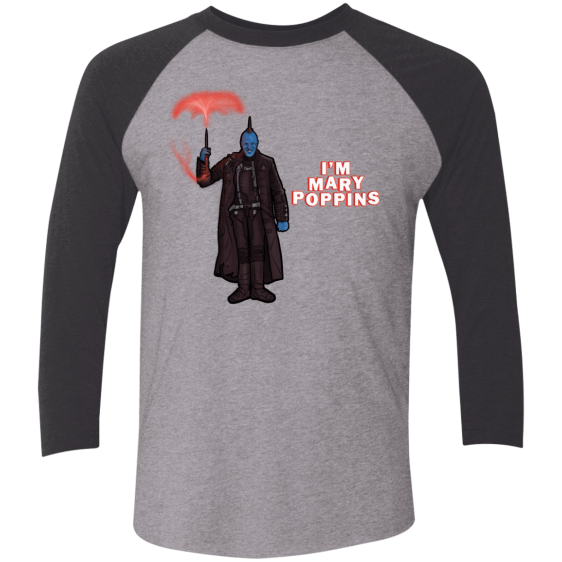 T-Shirts Premium Heather/Vintage Black / X-Small Yondu Poppins Men's Triblend 3/4 Sleeve