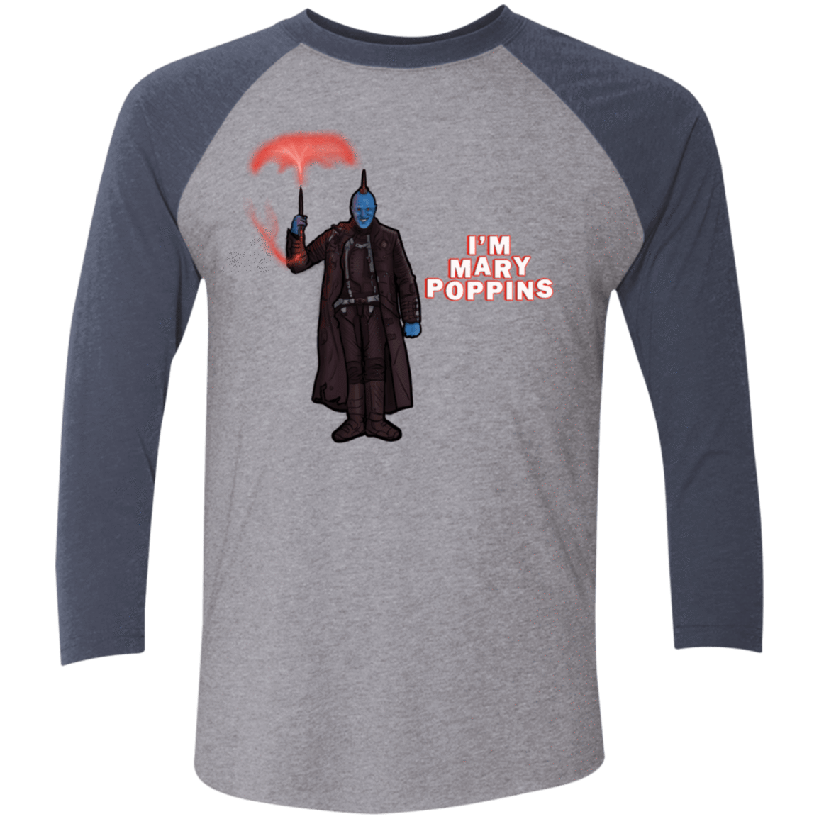 T-Shirts Premium Heather/Vintage Navy / X-Small Yondu Poppins Men's Triblend 3/4 Sleeve